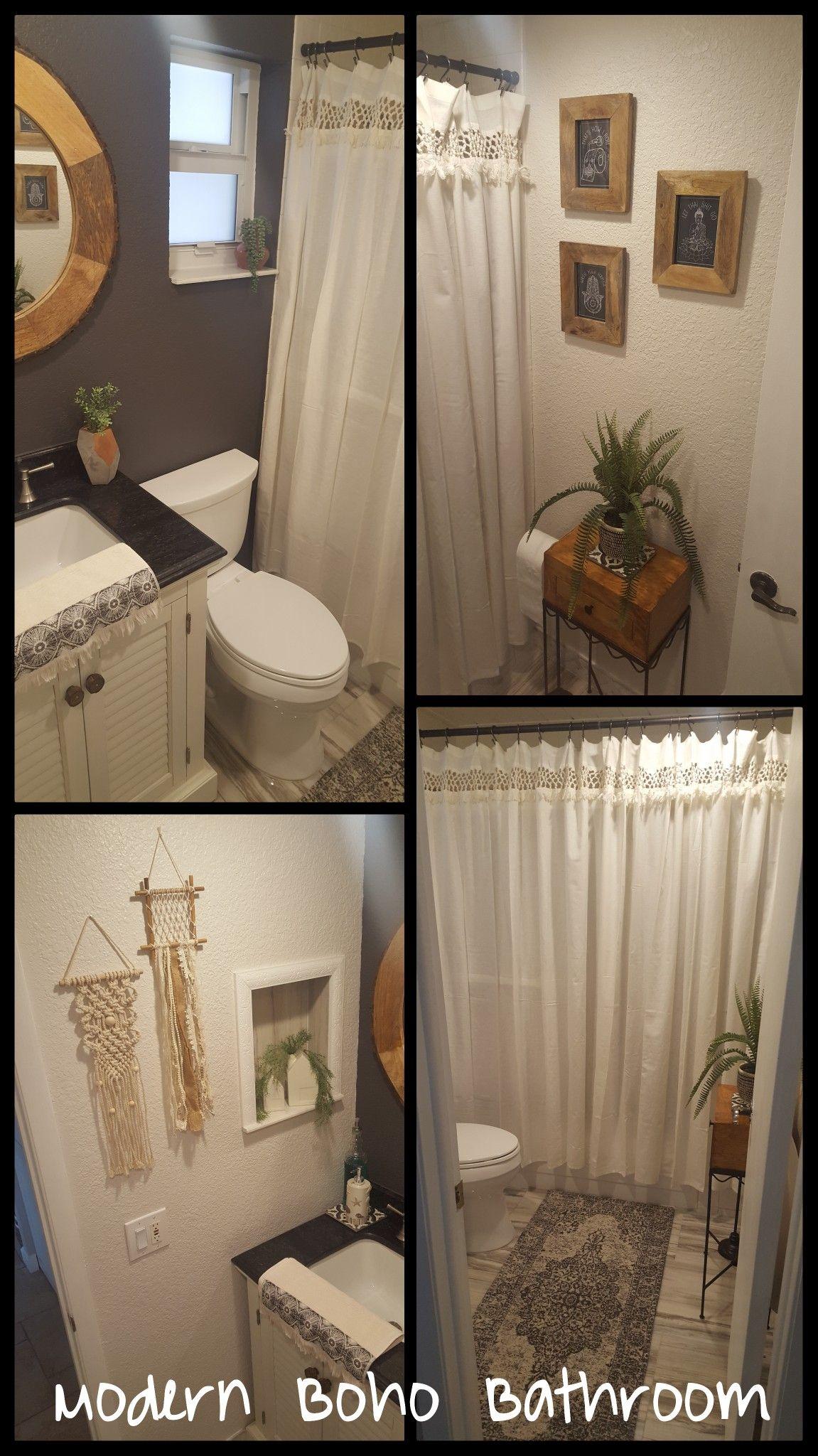 This Is A Modern Bohemian Bathroom Diy Decor Bathroom Redo With Macrame Wall Hanging Decor A Macrame Modern Shower Curtains Modern Boho Bathroom Boho Bathroom