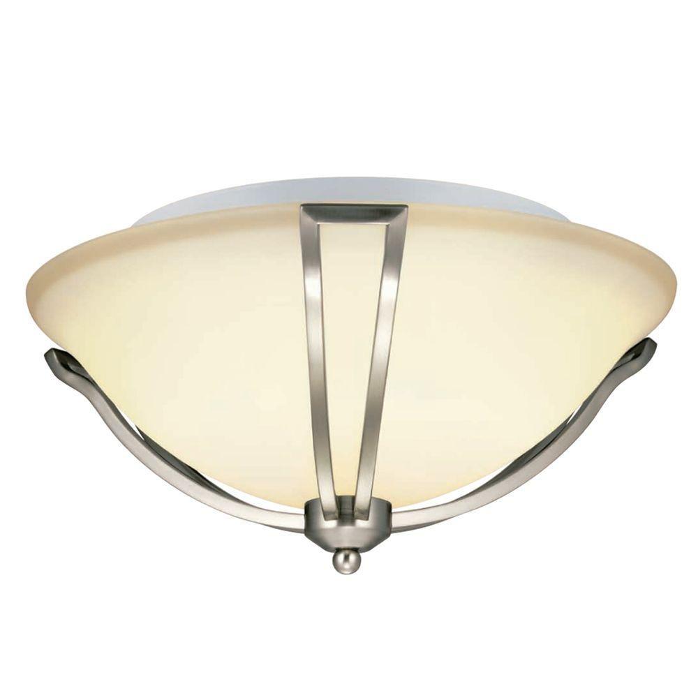 Hampton bay gambit 3 light flush mount satin nickel ceiling light 15700 018 the home depot 59 97