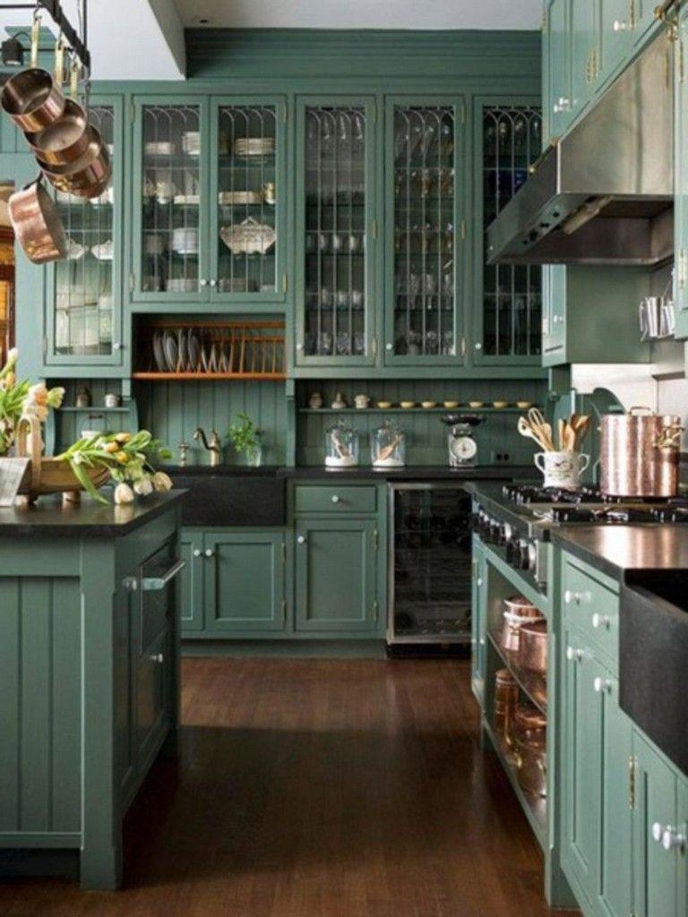 40 Contemporary Kitchen Cabinet For Your Dream House Dark Green Kitchen Rustic Farmhouse Kitchen Kitchen Cabinets Decor