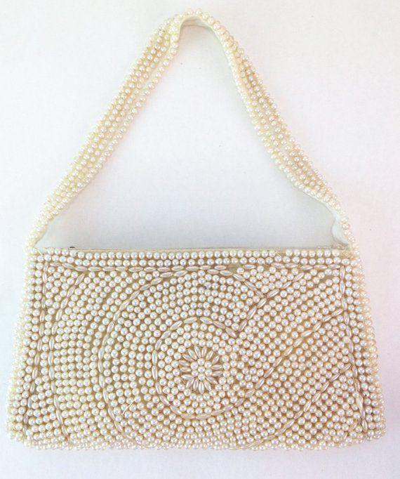 Lovely 1940s Pearl White Beaded Handbag Purse. Vintage. Satin detail. Jill  Empress. 8733ce69f243b