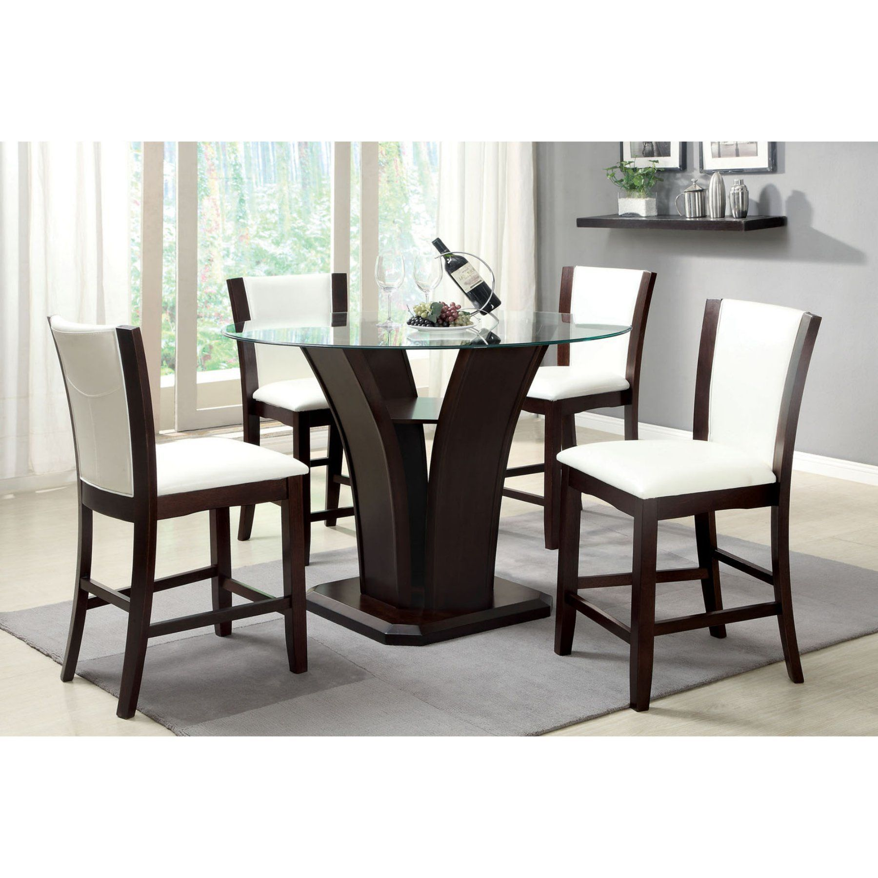 Furniture Of America White Lavelle 5 Piece Contemporary Counter Height Gltop Table Set Idf