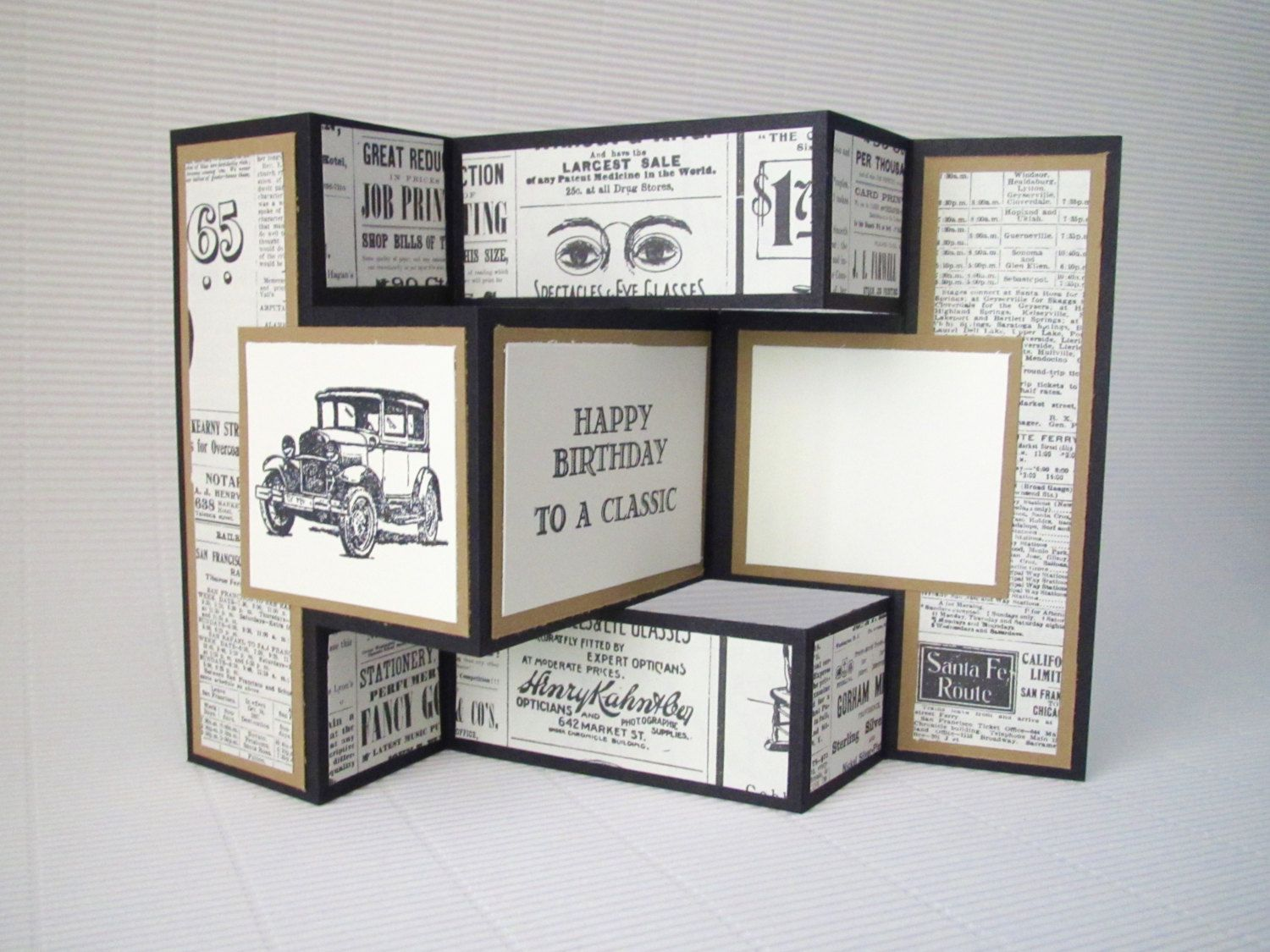 Happy birthday card handmade stamped blank fancy fold vintage happy birthday card handmade stamped blank fancy fold vintage elegant masculine black brown classic car stationery greeting card home living m4hsunfo