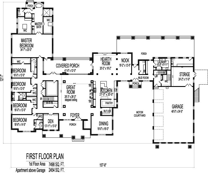 Large 6 Bedroom Bungalow 10000 Sf One Storey Dream House Plans
