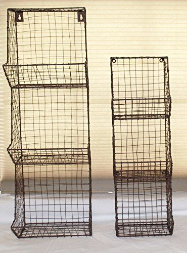 Amazon Com Glory Grace Large Rustic Industrial Wall Mount Metal And Wire General Store Multi Bin Stora Wall Basket Storage Wire Basket Storage Storage Bins
