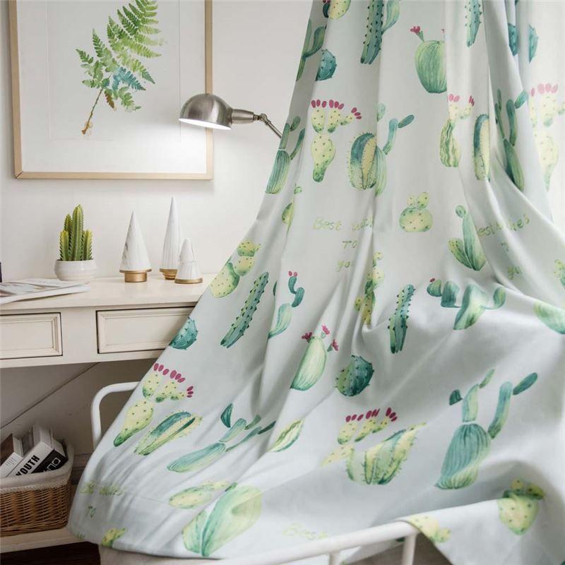 Rideau tamisant en polyester imprimé cactus pour bureau chambre à coucher