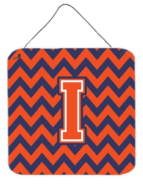 Letter I Chevron Orange and Blue Wall or Door Hanging Prints CJ1042-IDS66