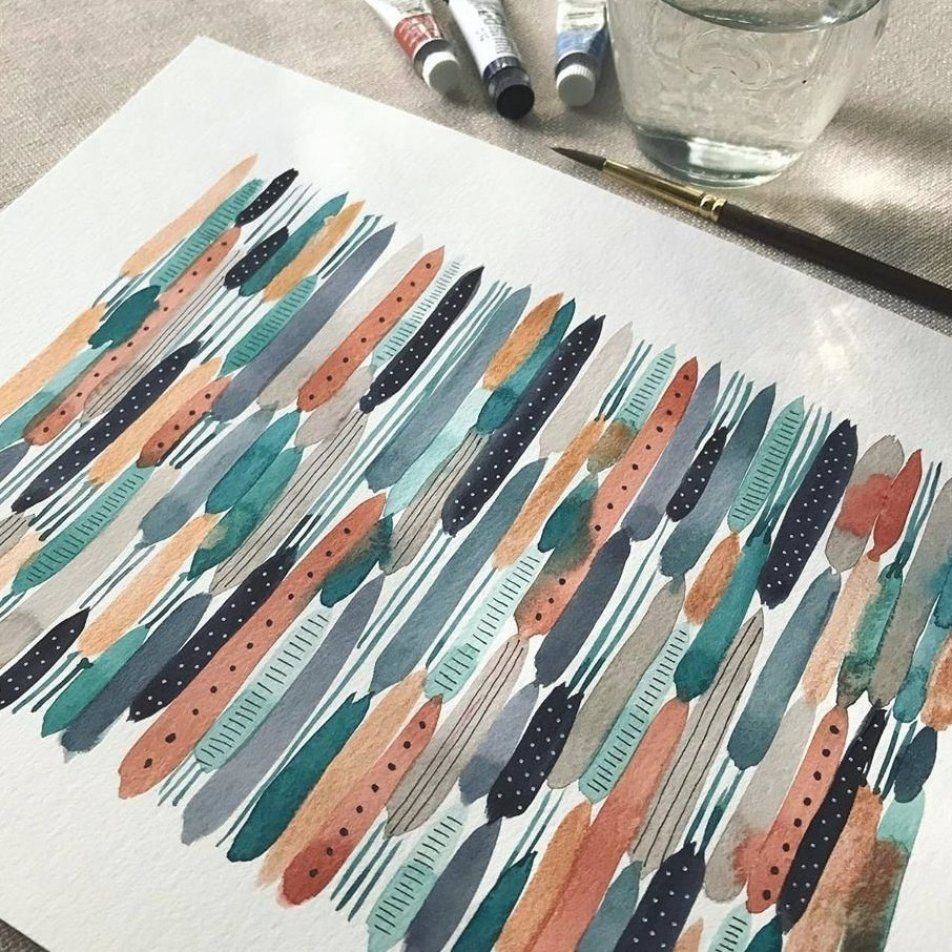 Linda Orsi on Instagram     Refreshing stripes                #watercolors #watercolor art #watercolor #watercolor gallery #watercolour #watercolors #aquarellepainting
