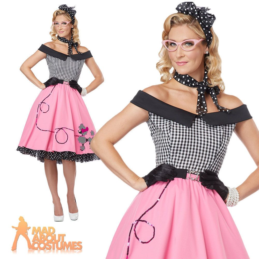 6994d45b0df9 Nifty 50s Rock n Roll Poodle Hop Dress Costume Ladies Womens Fancy Dress  Outfit