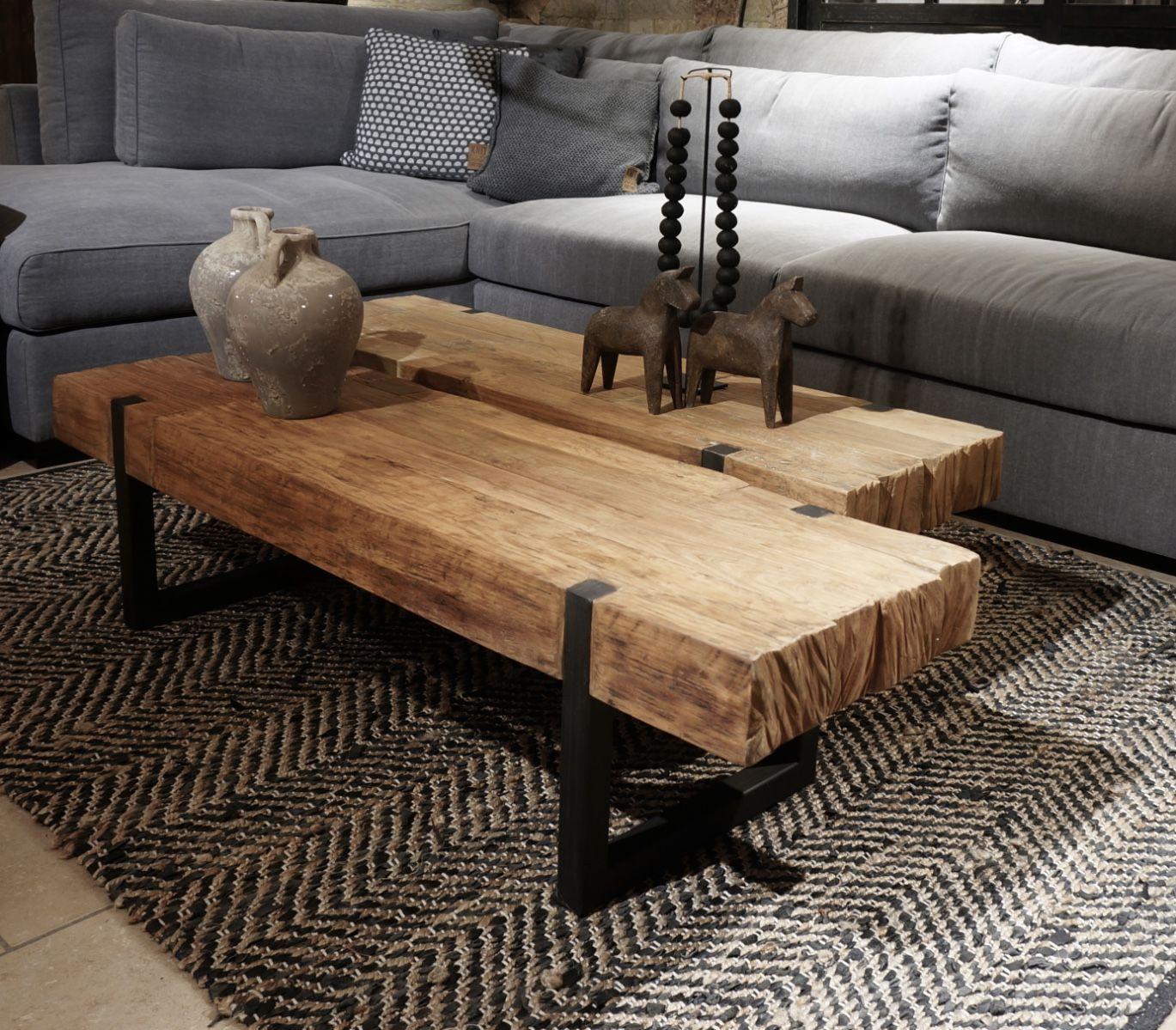 Photo of Massief teakhouten salontafel met zwart stalen frame – Klein meubilair – Collectie -…