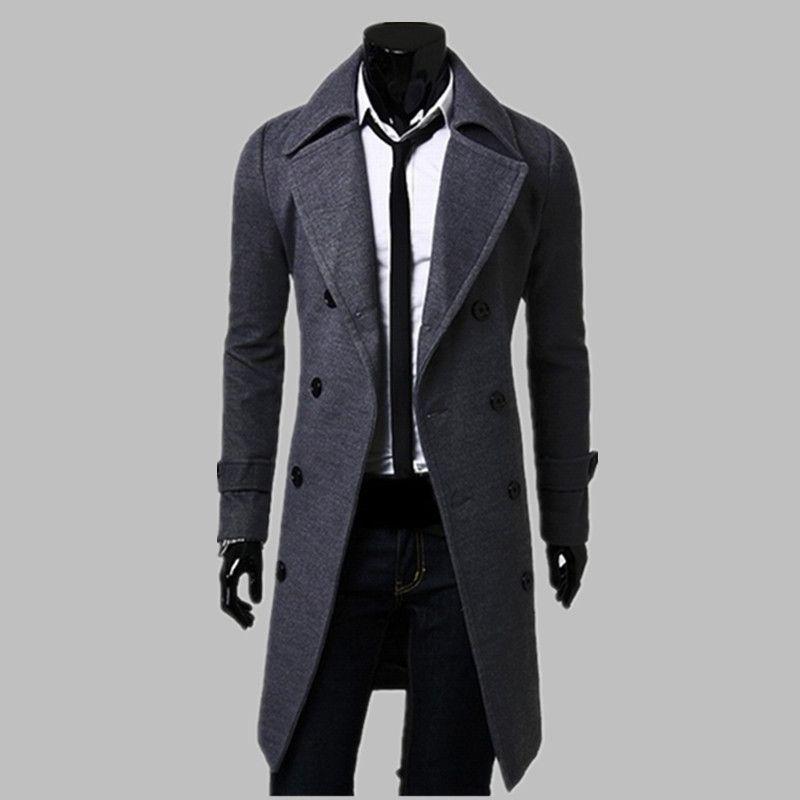 8dc15ce2d5e45 Aliexpress.com  Comprar Nueva moda Trench Coat hombres abrigo largo  invierno famosa marca para hombre abrigo doble de pecho Slim Fit gabardina  y el tamaño ...