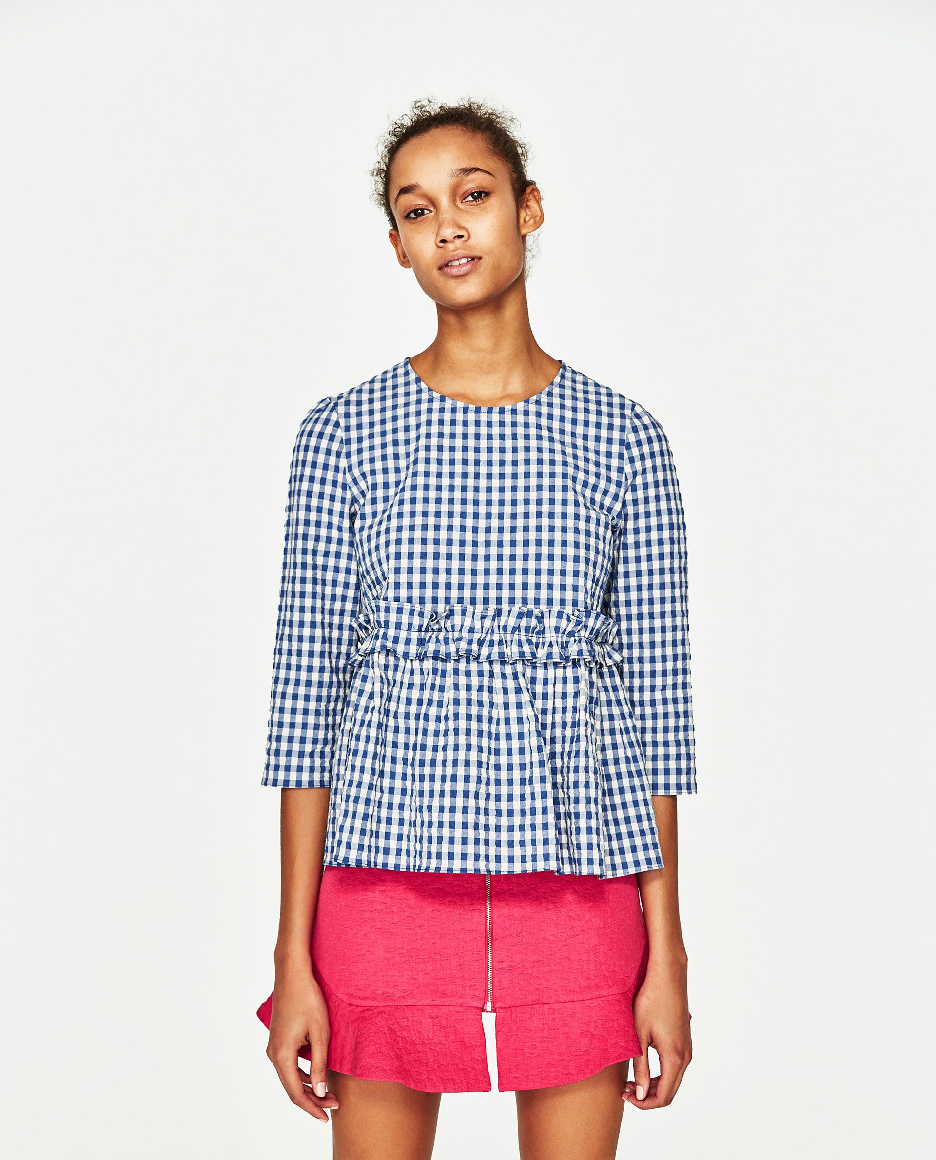 0ae9c79954f Image 2 of FRILLED GINGHAM TOP from Zara | ruffle | Tops, Cool ...
