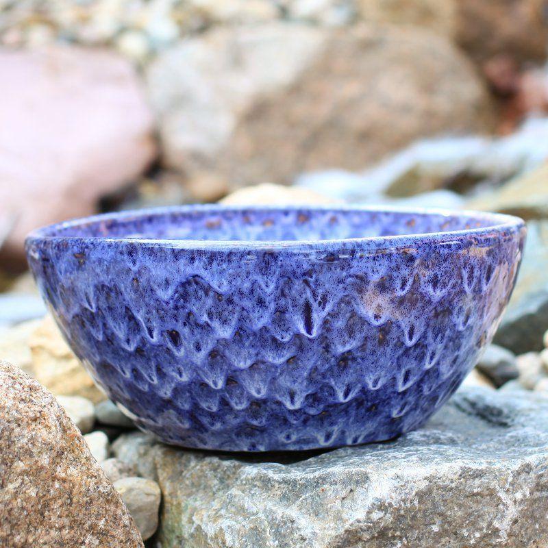 Craftware Terra Cotta Round Ceramic Glazed Low Bowl Planter Running Cobalt