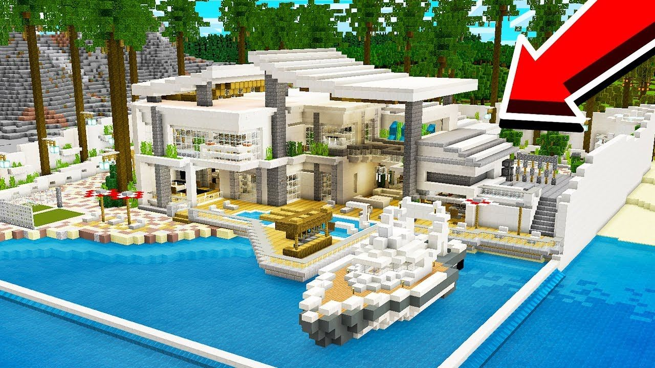 How To Build A Modern Redstone Beach House Youtube With Images