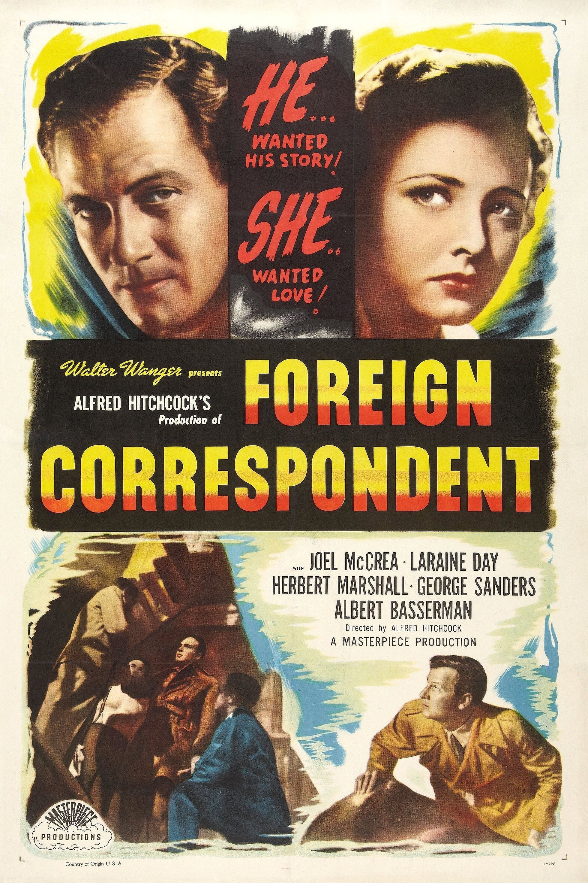 Foreign Correspondent (1940, dir. Alfred Hitchcock) US 1948 re-release poster