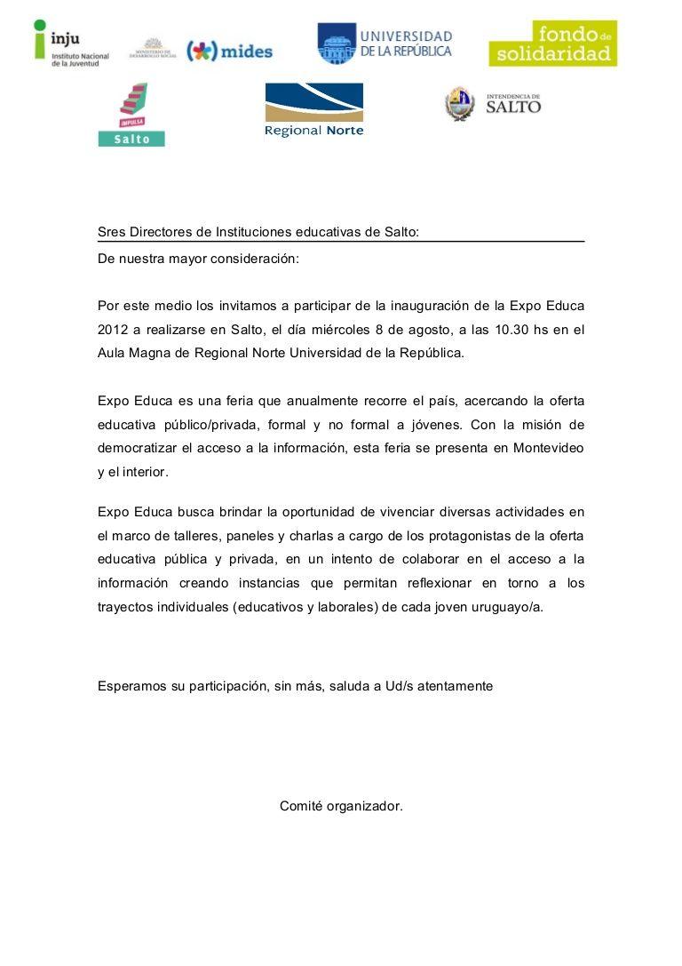 Modelo De Carta De Invitacion A Un Evento Deportivo Buscar