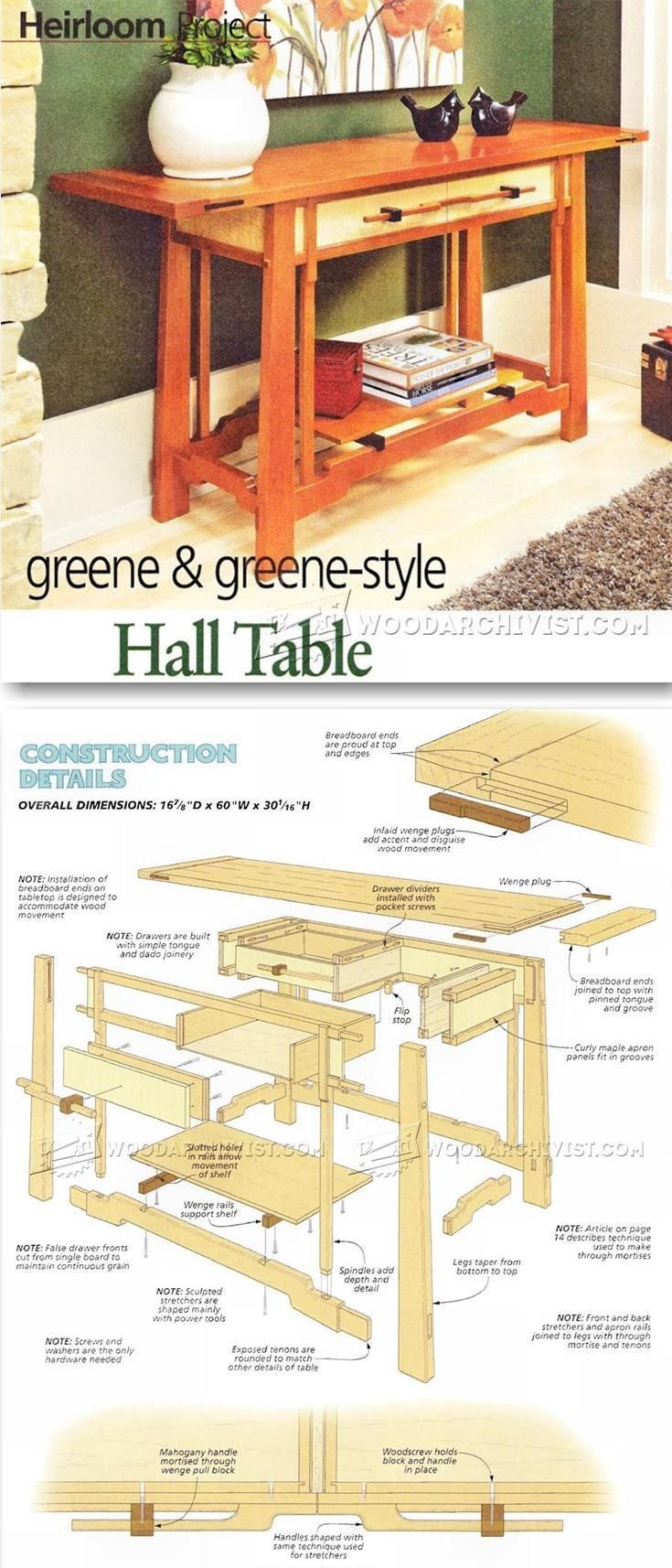 Hall Table Plans - Furniture Plans and Projects | http://WoodArchivist.com