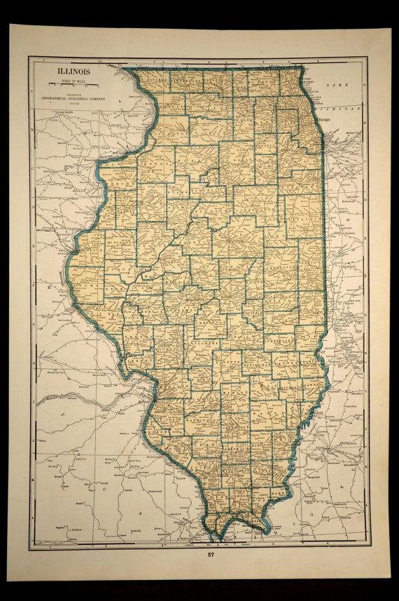 Illinois map of illinois vintage 1940s original beige 1943 1940s illinois map illinois vintage 1940s original beige 1943 gumiabroncs Gallery