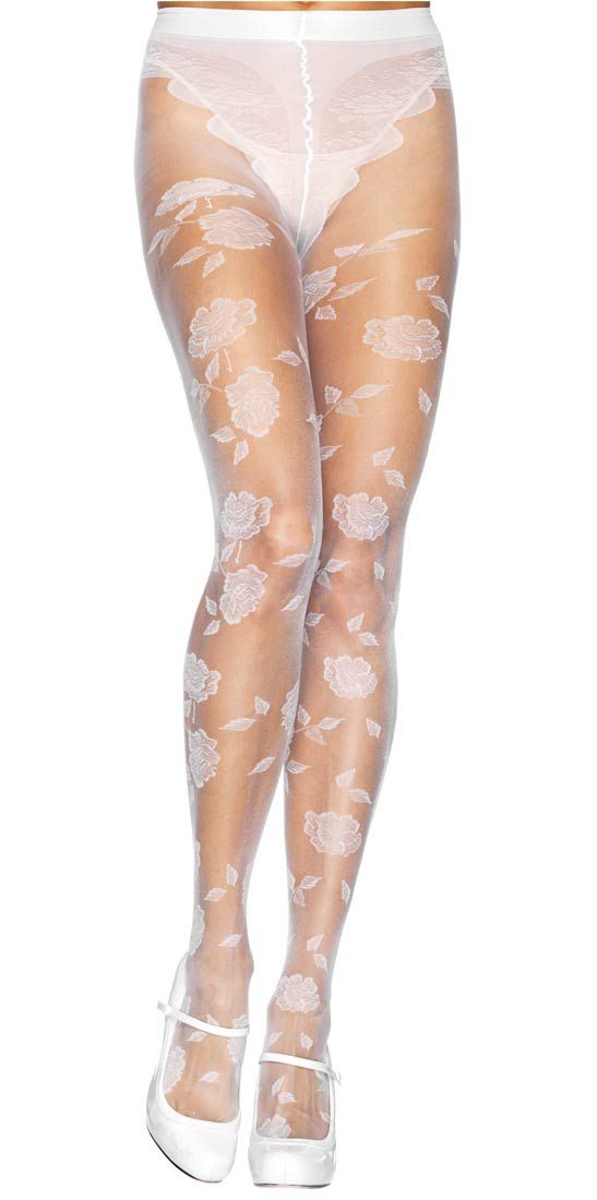 aa552ea6f2f White Lycra Sheer French Cut Flower Panty Hose