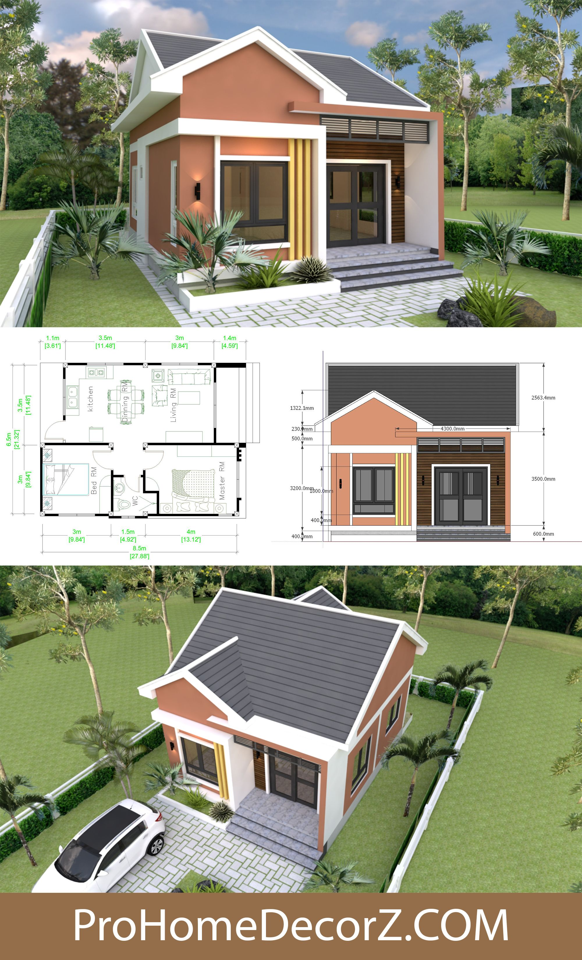 Small Bungalow 6 5x8 5 With Gable Roof 2 Bedrooms In 2020 Small Mansion Small Bungalow Model House Plan