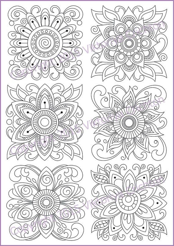 Coloring Page Zentangle Flowers Printable For Adults Pdf Doodle