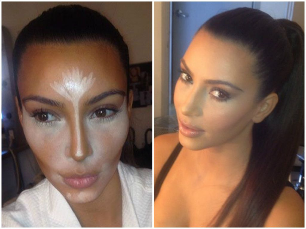 Kim Kardashian Before And After Contouring Contour Makeup Highlighter  Tutorial How To Hac