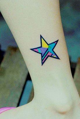 Colorful Star Tattoo On The Leg Star Tattoos Leg Tattoos Tattoos