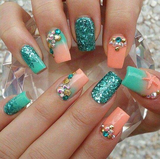 Turquoise Peach Square Nails Beach Theme Mermaid Nails Coral