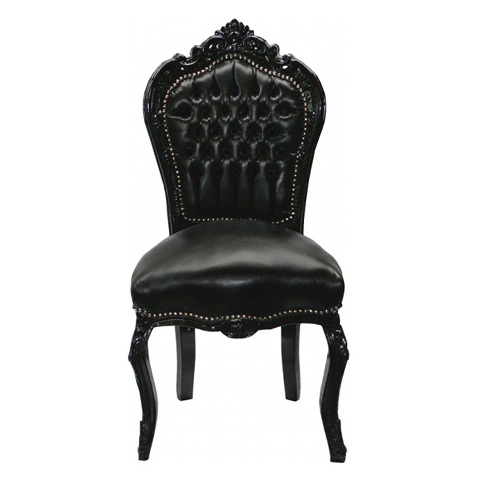 Chaise baroque noir cuir louis xv simili cuir noir salle - Chaise cuir noir salle manger ...