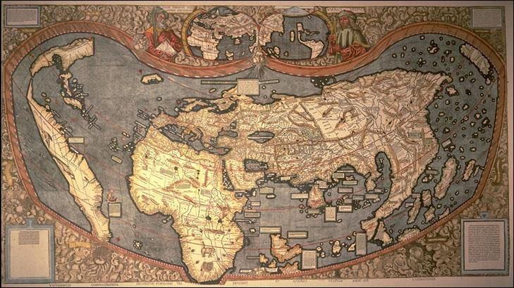 World map, 1507 First known map to use the name  - new world map infographic image