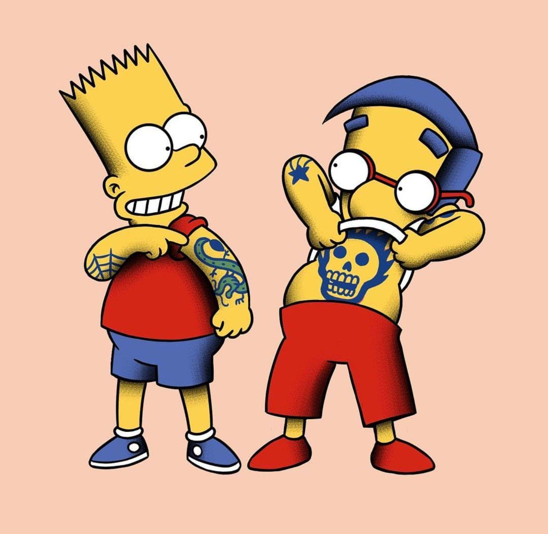 Bart & Milhouse - Inked, The Simpsons | Personajes de los