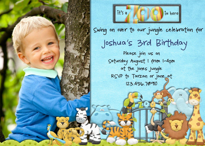 Jungle Birthday Invitation Safari Animals Custom Printable Photo Card 1600 Via Etsy