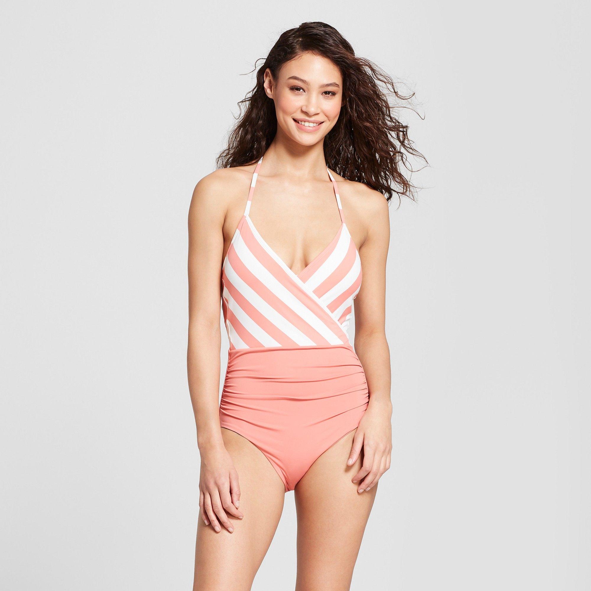 e68cfdb2ed78 Sunn Lab Swim Women's Striped Halter Wrap One Piece - Antique/Pearl XS, Pink