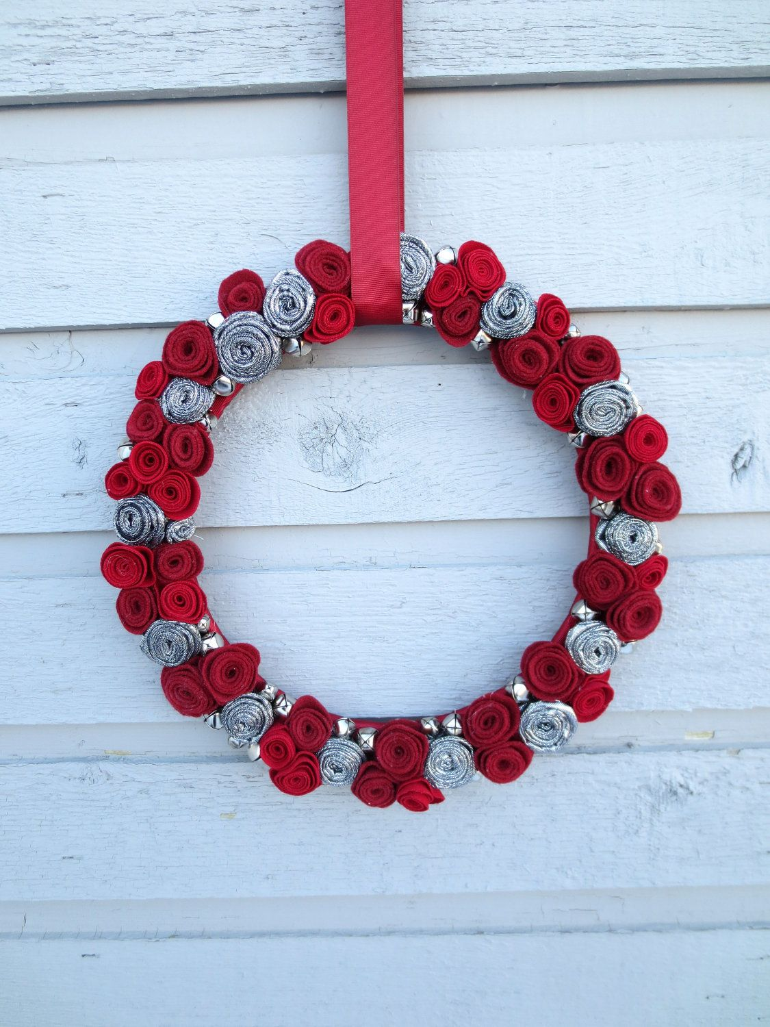 Holiday Wreath - Silver and Scarlett with Silver Bells - Christmas - Holiday Decor