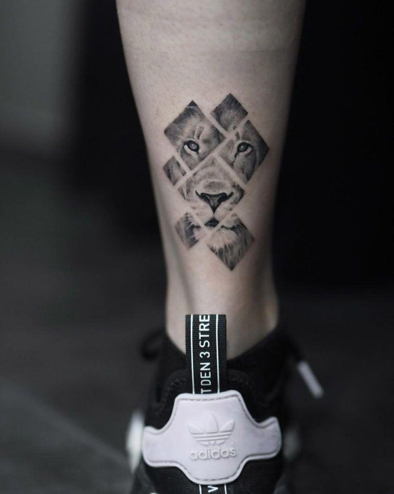 By Avihoo Ben Gida Geometric Lion Tattoo Tattoos Small Lion Tattoo