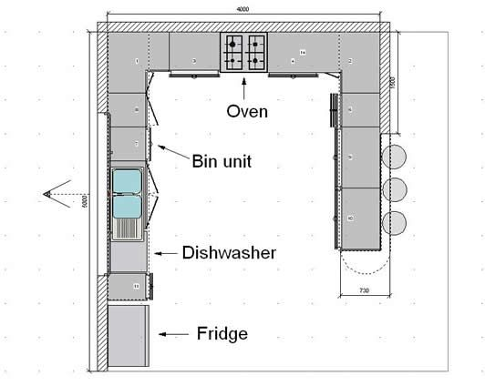 Kitchen floor plans kitchen floorplans 0f kitchen for Kitchen floor plan layout