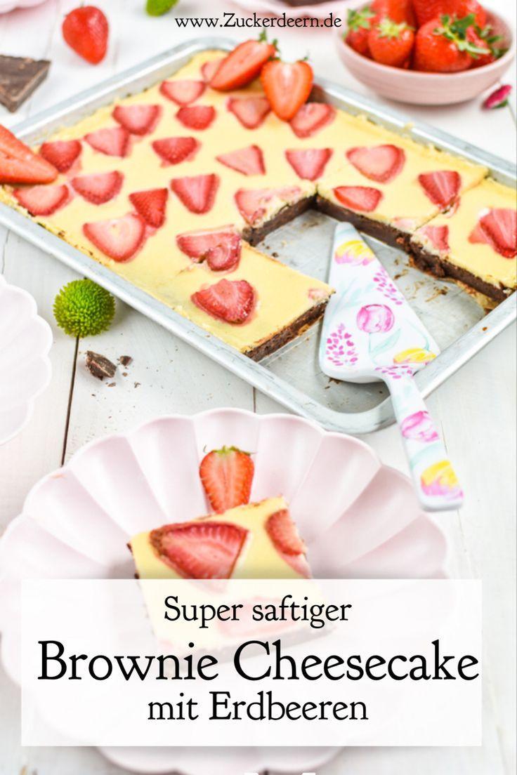 Rezept für einen Brownie Cheesecake mit Erdbeeren