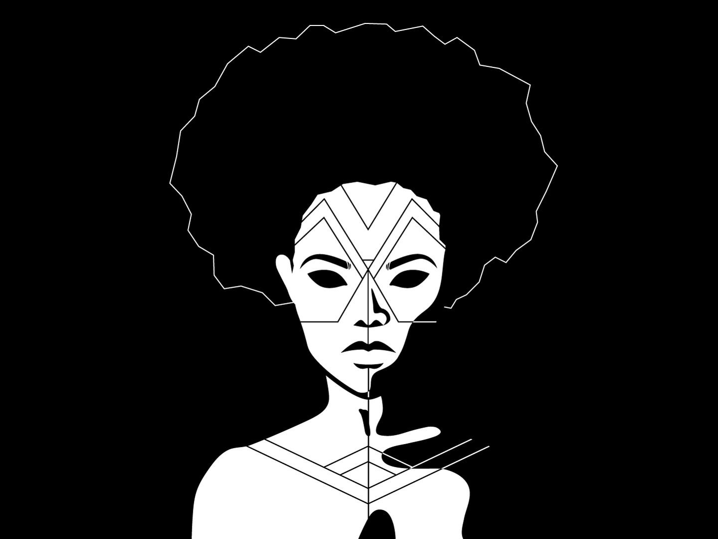 Face painting 1 illustration vector graphic black white african tribal hair