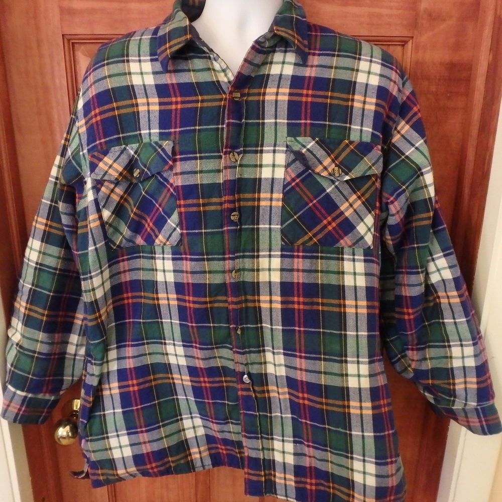 Men's outfits with flannel  Backpacker Vtg plaid quilted lined flannel Lumberjack shirt jacket