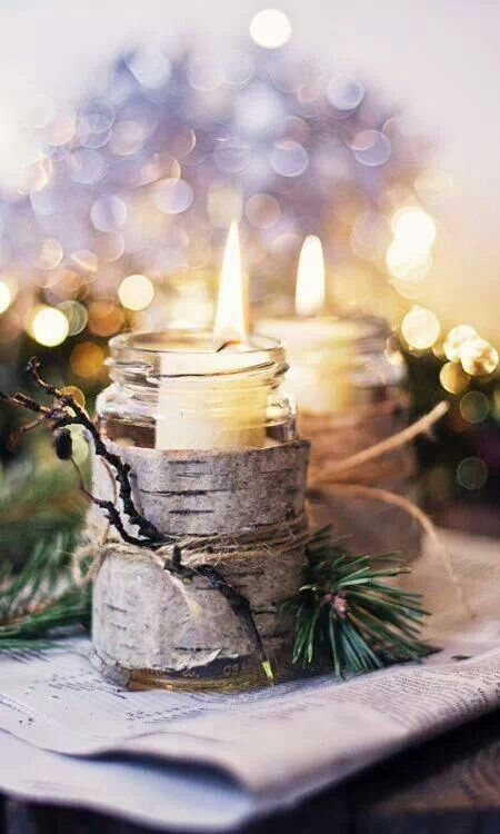 Candle in a jar wrapped with tree bark #candleholder #diy #cozywinter #winterdecor