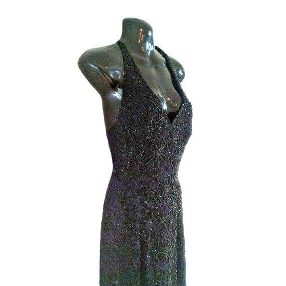 Amy 1920s Great Gatsby Style Dress, Art Deco Navy Blue Dress, Long ...