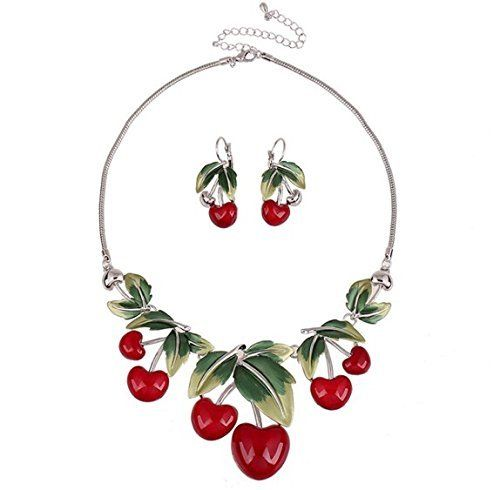 Gas Axe Inc Cherry Necklace and Earring Set c6yxz4N