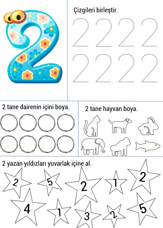 2 Rakami Calisma Sayfasi Okul Oncesi Okul Alfabe Calisma Sayfalari