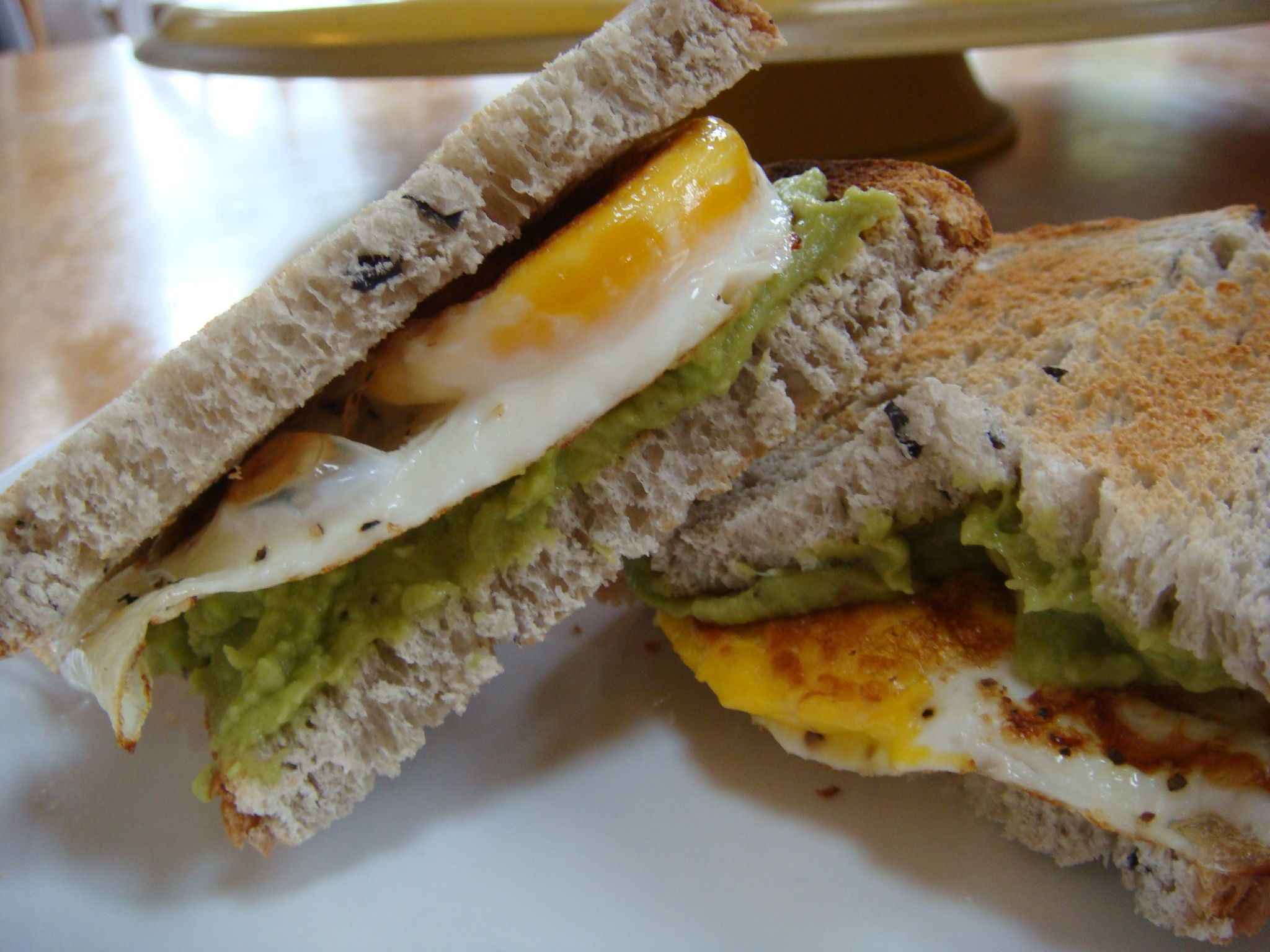 Leftover guacamole can be used as a garnish on an egg sandwich! Delicious!!