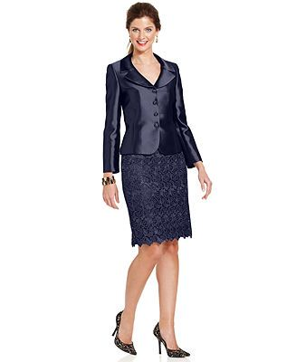 e20018aea3c6 Tahari ASL Three-Button Metallic Lace Skirt Suit - Suits Suit Separates -  Women - Macy's