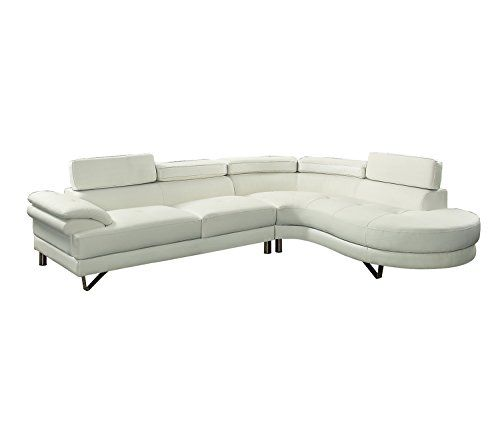 Review Poundex F6985 Bobkona Isidro Faux Leather Sectional White Clean Couch