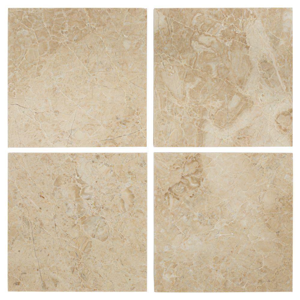 Jeffrey Court Cappuccino 6 in. x 6 in. Marble Floor/Wall Tile (1 ...