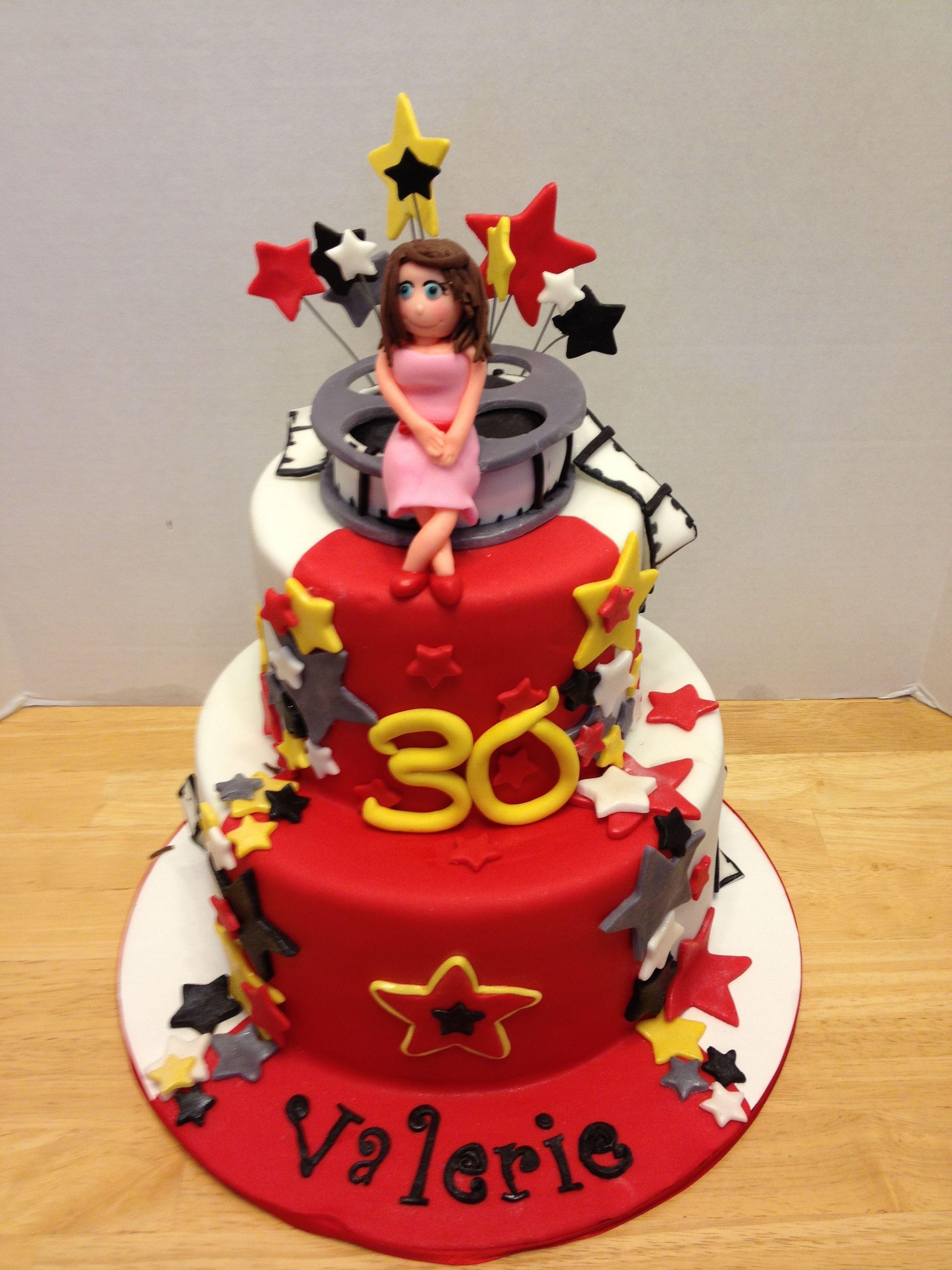 Superb Hollywood 30Th Birthday Cake Hollywood Party Theme 30 Birthday Funny Birthday Cards Online Elaedamsfinfo