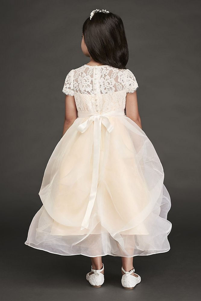 731787a247 Lace and Organza Pick-Up Flower Girl Dress Style RK1380, Ivory, 8 in ...