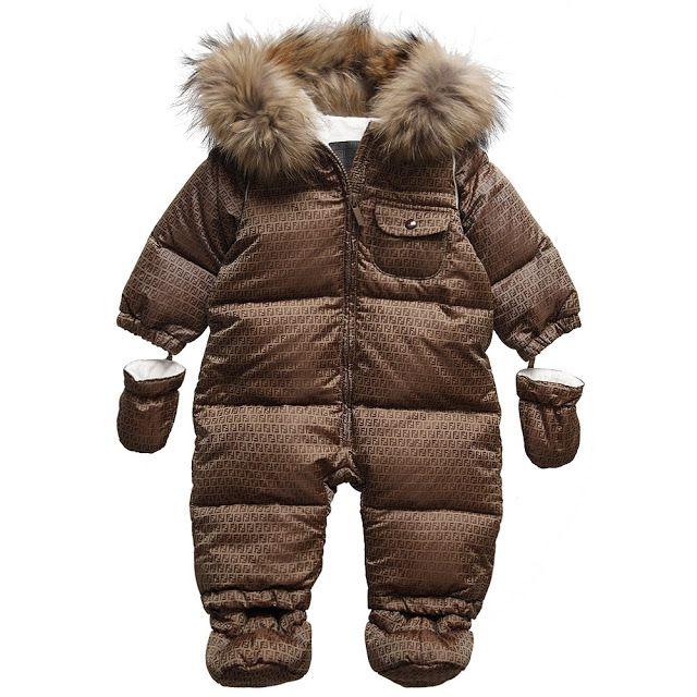 3473d5e0ba10 fendi baby snowsuit zucca fur brown