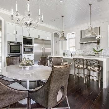 Kitchen With Oval Dining Table Transitional